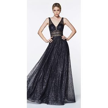 Black Long A-line Prom Dress V-Neck and Back
