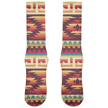 DCCKU3R Native American Pattern Red All Over Crew Socks