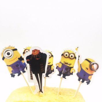 24pcs Minions Cupcake Inserts Card Kids Birthday Baby Shower Party Supplies Cake Toppers Birthday Cakes Party Decoration