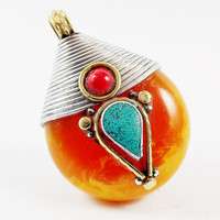 Large Amber Resin Tear Drop Pendant with Coral Inlay Bead - Brass Silver - Afghan Handmade - 1pc