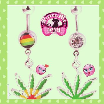NEW!  BUY 1 GET 1 FREE Dangling Maple Leaf Weed Dangling Belly Ring Accessories  Body Piercing Jewelry