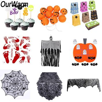 OurWarm Halloween Decoration Pumpkin Light Hanging Ghost Fireplace Mantle Scarf Cupcake Topper Wrapper Halloween Party Supplies