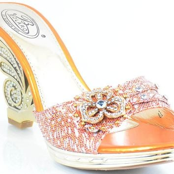 Metallic Gold Jeweled Cut-out Strappy Slide Open-toe Sandal Heels