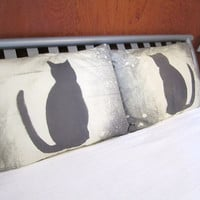 Cat Pillowcase- Black Cat - Moon - Galaxy Pillow - His and Hers Pillowcases - OOAK - Gray Pillow- Bleach Dyed- Cotton Sateen