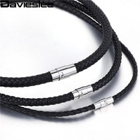 Davieslee 4/6/8mm Thin Black Braided Cord Rope Man Made Leather Necklace Silver Stainless Steel Clasp Jewelry LUNM09
