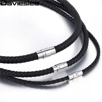 Thin Brown Black Braided Cord Rope Man Made Leather Necklace for Men Chocker Silver Tone Stainless Steel Clasp 4/6/8mm LUNM09