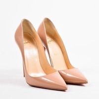 KUYOU Christian Louboutin Nude Patent Leather  So Kate 120  Pointed Toe Pumps