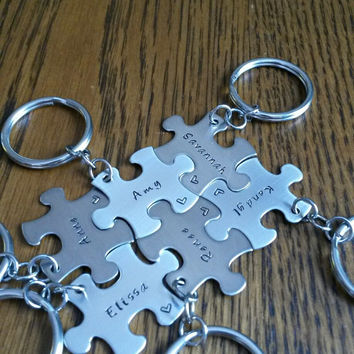 Hand Stamped Best Friends Puzzle Pieces Keychains - Family - Bridal Party - Sports Team Gifts - Personalized Keychains - Bridesmaids