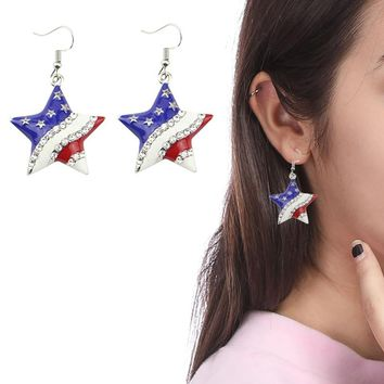 New Arrival Heart Crystal Ear Studs Fashion Star Shape American Flag Earrings For Women Patriotic Jewelry Gifts