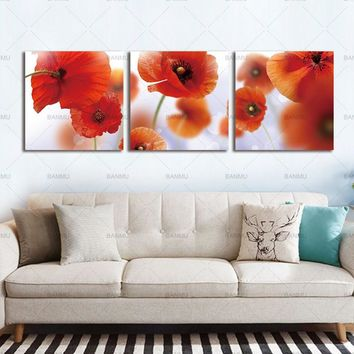 Wall Pictures  Canvas Painting Home Decoration Flower Pictures For Living Room Modular Pictures 3 piece Spring Bamboo Planet