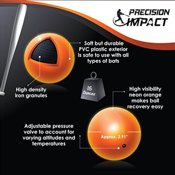Precision Impact Slugs: Heavy Weighted Practice Balls for Baseball/Softball Hitting and Pitching Training (Pack of 6)