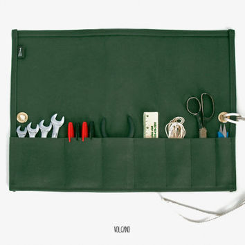 Large handmade tool roll in waxed moss green canvas - Volcano Store