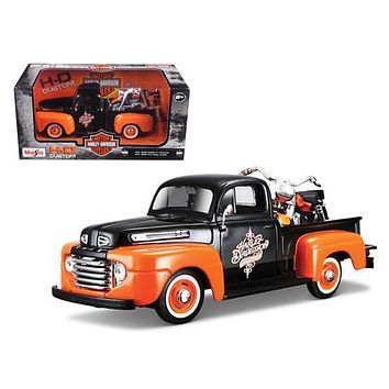 1948 Ford F 1 Pickup Truck Orange/Black with 1958 FLH Duo Glide Harley Davidson Motorcycle 1/24 by Maisto