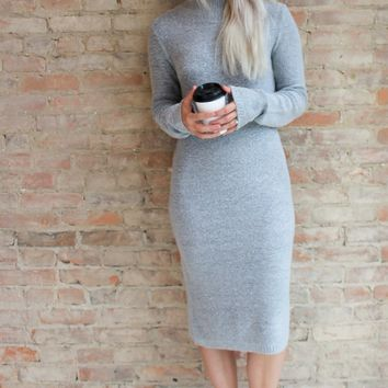 Alexxa Mock Neck Sweater Dress - grey