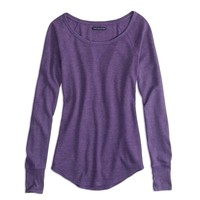 AEO Factory Long Sleeve Thermal T-Shirt, Enchanting Purple | American Eagle Outfitters