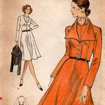 1970s Vogue Sewing Pattern Retro High Fashion Basic A-line Dress Flared Skirt Wide Collar Bolero Jacket Business Casual Bust 32