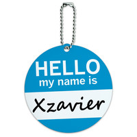 Xzavier Hello My Name Is Round ID Card Luggage Tag