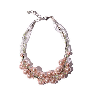Chunky pink faux pearl collar necklace