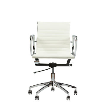 MID-BACK SWIVEL CONFERENCE LEATHER OFFICE & DESK CHAIR MZN-7360 (WHITE) WHITE '