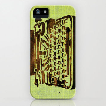 Typewriter iPhone Case - cell phone accessory cover original abstract art stencil paint green black hipster