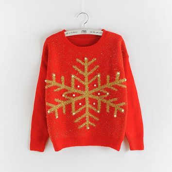 Women's Pullovers Beading Long Sleeve Pull sweater