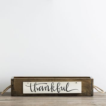 Thankful/Merry Christmas - Wooden Box with Reversible Signs
