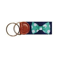 Bow Tie Needlepoint Key Fob in Navy by Smathers & Branson
