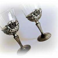 Silver Wine Glasses Antique Silver Goblets Wedding Toasting Glasses Wedding Gift Wedding Celebration Birthday Gift Anniversary Gift