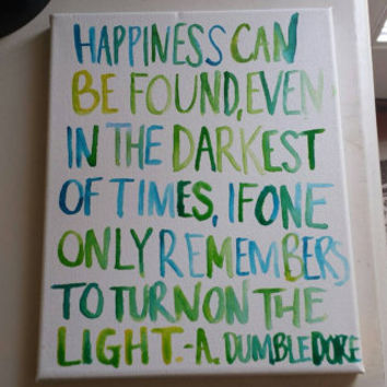 Happiness can be found even in the darkest of times Canvas Quote Painting Art Wall Hanging Harry Potter Home Decor Watercolor Custom Quote