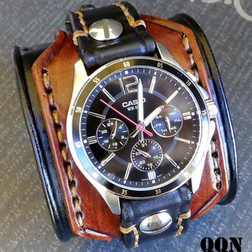 Leather Watch for Men, Custom Watch Cuff, Leather Wrist Watch, Leather Cuff, Bracelet Watch,