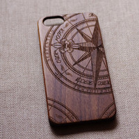 Compass wood iphone case,wood iphone 5 case,wood iphone 6 case,vintage compass iphone case,compass  iPhone 6 case