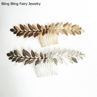 Gold Silver Leaf Hair Comb Bridal Hair Accessories Hair Jewelry For Women, Free Shipping