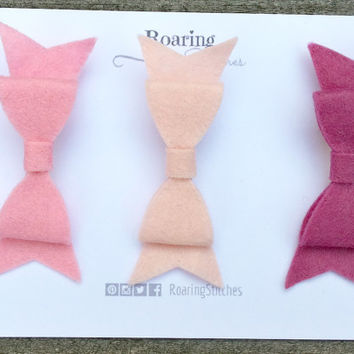 Pink small bow hair clip set of 3 wool felt bows