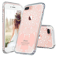 iPhone 7 Plus Case, MOSNOVO White Henna Mandala Floral Lace Clear Design Printed