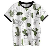 Women Tops Summer Casual Woman T shirt Top Crew Neck Short Sleeve Cactus and Marble Print Ringer Tee