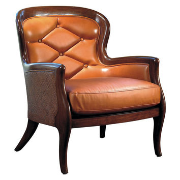 Bordeaux Tuft Leather Chair, Terracotta, Wingbacks
