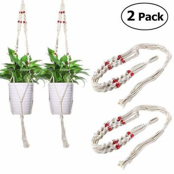 2Pcs Natural Jute Hanging Flower And Potted Plant Holder
