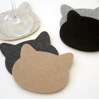 Felt Coasters NEW- CATS! 5mm Thick by feltplanet