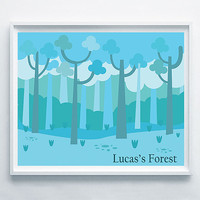 Lucas's Forest Printable Art- Baby Boy- Baby Shower Gift- Poster Kids Room- Boy Forest Print- Forest Illustration- Custom Home Decor Art