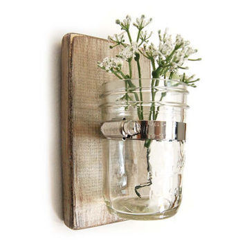 Wall sconce wood vase mason jar Metallic Taupe