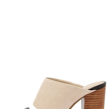 Seychelles Lyra Black and Nude Leather Mules