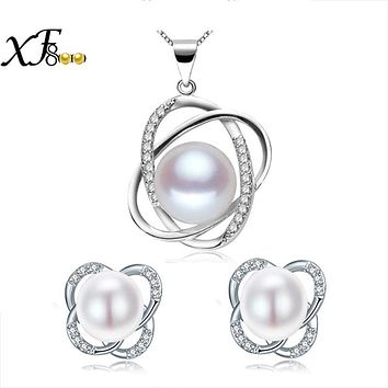 [XF800]pearl jewelry sets 925 sterling silver natural fresh water pearl necklace pendant earrings trendy for women ST22