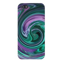 Teal and Purple Abstract Swirl iPhone 5 case from Zazzle.com