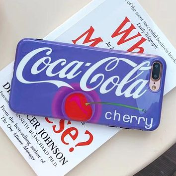 Coca-Cola Tide brand fruit cherry print iphone8plus mobile phone case Blue