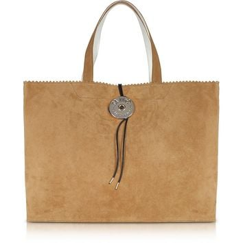 MM6 Maison Martin Margiela Camel Suede Leather and Paper Tote Bag