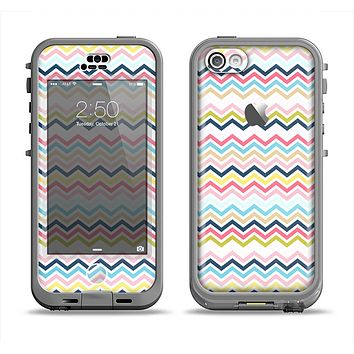 The Multi-Lined Chevron Color Pattern Apple iPhone 5c LifeProof Nuud Case Skin Set