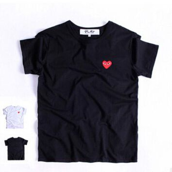 ONETOW The new summer and fall 2016 small red heart sets round collar couples short sleeve T-shirt for men and women