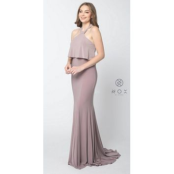 Halter Ruffled Long Prom Dress Open Back with Train Dusty Rose