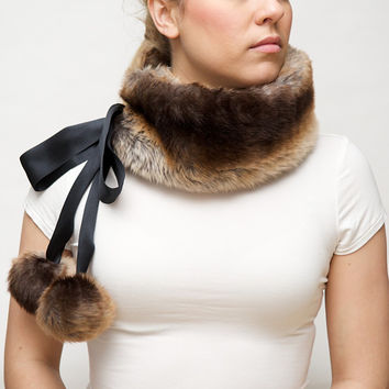 Faux Fur Scarf with Silk Ties - Brown Ombre