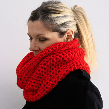 Red infinity cowl circle scarf winter fashion, Calypso Cowl, vegan friendly
